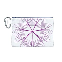 Purple Spirograph Pattern Circle Geometric Canvas Cosmetic Bag (m)