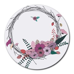 Flowers Twig Corolla Wreath Lease Round Mousepads
