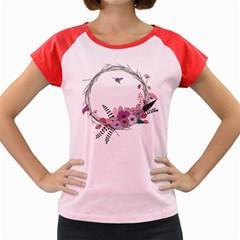 Flowers Twig Corolla Wreath Lease Women s Cap Sleeve T Shirt