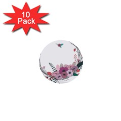 Flowers Twig Corolla Wreath Lease 1  Mini Buttons (10 pack)