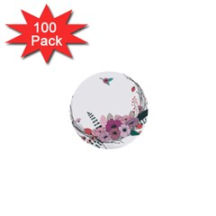 Flowers Twig Corolla Wreath Lease 1  Mini Buttons (100 Pack)