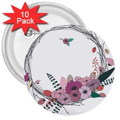 Flowers Twig Corolla Wreath Lease 3  Buttons (10 Pack)