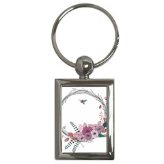 Flowers Twig Corolla Wreath Lease Key Chains (rectangle)