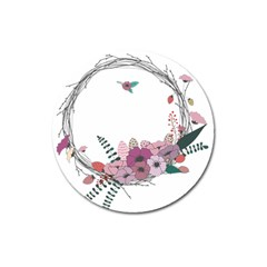 Flowers Twig Corolla Wreath Lease Magnet 3  (Round)