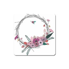 Flowers Twig Corolla Wreath Lease Square Magnet