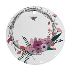 Flowers Twig Corolla Wreath Lease Round Ornament (two Sides)
