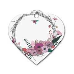 Flowers Twig Corolla Wreath Lease Dog Tag Heart (One Side)