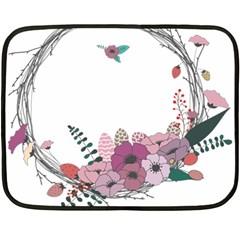 Flowers Twig Corolla Wreath Lease Fleece Blanket (mini)