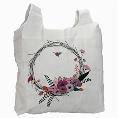 Flowers Twig Corolla Wreath Lease Recycle Bag (One Side)