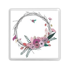 Flowers Twig Corolla Wreath Lease Memory Card Reader (square)