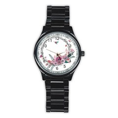 Flowers Twig Corolla Wreath Lease Stainless Steel Round Watch