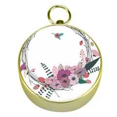 Flowers Twig Corolla Wreath Lease Gold Compasses