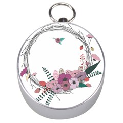 Flowers Twig Corolla Wreath Lease Silver Compasses