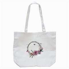 Flowers Twig Corolla Wreath Lease Tote Bag (white)