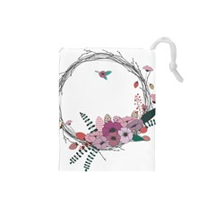 Flowers Twig Corolla Wreath Lease Drawstring Pouches (small)