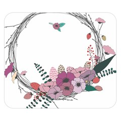 Flowers Twig Corolla Wreath Lease Double Sided Flano Blanket (small)