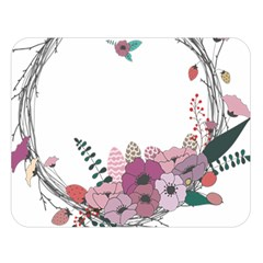 Flowers Twig Corolla Wreath Lease Double Sided Flano Blanket (Large)