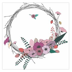 Flowers Twig Corolla Wreath Lease Large Satin Scarf (square)