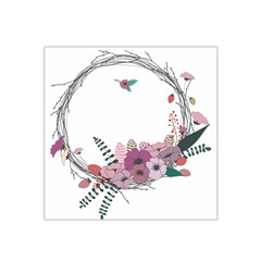 Flowers Twig Corolla Wreath Lease Satin Bandana Scarf