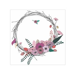 Flowers Twig Corolla Wreath Lease Small Satin Scarf (square)