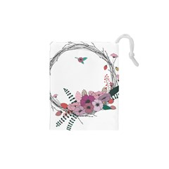Flowers Twig Corolla Wreath Lease Drawstring Pouches (XS)