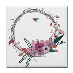 Flowers Twig Corolla Wreath Lease Tile Coasters