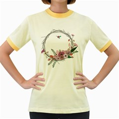 Flowers Twig Corolla Wreath Lease Women s Fitted Ringer T Shirts