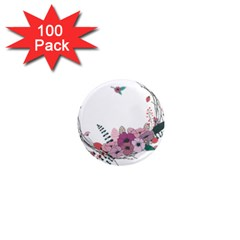 Flowers Twig Corolla Wreath Lease 1  Mini Magnets (100 pack)