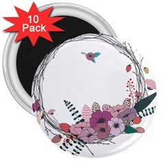 Flowers Twig Corolla Wreath Lease 3  Magnets (10 Pack)