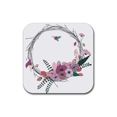 Flowers Twig Corolla Wreath Lease Rubber Square Coaster (4 pack)