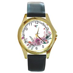 Flowers Twig Corolla Wreath Lease Round Gold Metal Watch