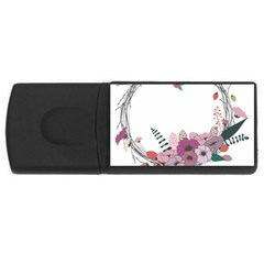 Flowers Twig Corolla Wreath Lease USB Flash Drive Rectangular (2 GB)