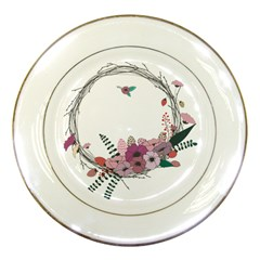 Flowers Twig Corolla Wreath Lease Porcelain Plates