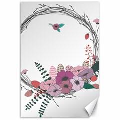 Flowers Twig Corolla Wreath Lease Canvas 12  X 18