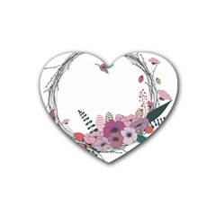 Flowers Twig Corolla Wreath Lease Heart Coaster (4 pack)