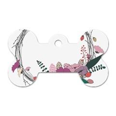 Flowers Twig Corolla Wreath Lease Dog Tag Bone (Two Sides)