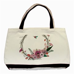 Flowers Twig Corolla Wreath Lease Basic Tote Bag (Two Sides)