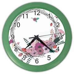 Flowers Twig Corolla Wreath Lease Color Wall Clocks