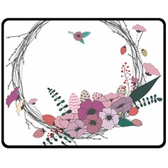 Flowers Twig Corolla Wreath Lease Fleece Blanket (medium)