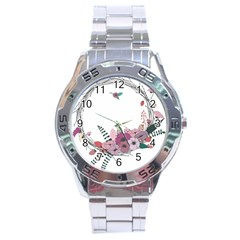 Flowers Twig Corolla Wreath Lease Stainless Steel Analogue Watch