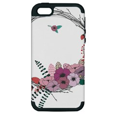 Flowers Twig Corolla Wreath Lease Apple iPhone 5 Hardshell Case (PC+Silicone)