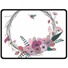 Flowers Twig Corolla Wreath Lease Double Sided Fleece Blanket (large)
