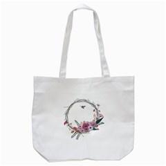 Flowers Twig Corolla Wreath Lease Tote Bag (White)