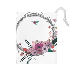 Flowers Twig Corolla Wreath Lease Drawstring Pouches (Large)
