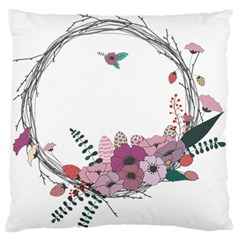 Flowers Twig Corolla Wreath Lease Large Flano Cushion Case (one Side)