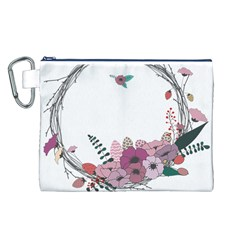 Flowers Twig Corolla Wreath Lease Canvas Cosmetic Bag (L)