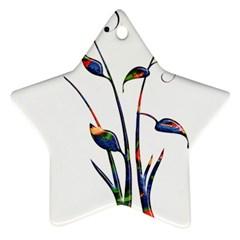 Flora Abstract Scrolls Batik Design Ornament (Star)
