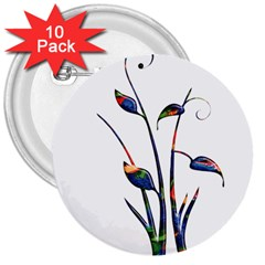Flora Abstract Scrolls Batik Design 3  Buttons (10 pack)
