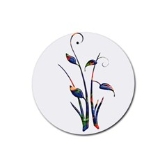 Flora Abstract Scrolls Batik Design Rubber Round Coaster (4 pack)