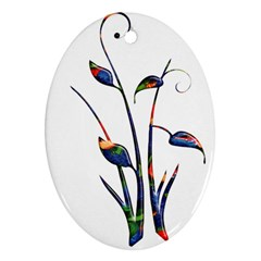Flora Abstract Scrolls Batik Design Oval Ornament (two Sides)